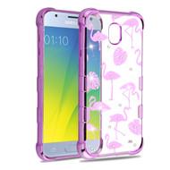 TUFF Klarity Purple Plating Transparent Anti-Shock TPU Diamond Case for Samsung Galaxy J3 (2018) - Flamingo Land