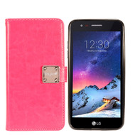 Leather Wallet w/ Removable Magnetic Case for LG Aristo 2 / Fortune 2 / K8 (2018) / Tribute Dynasty / Zone 4 - Hot Pink