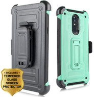 3-IN-1 Rugged Hybrid Kickstand Case with Holster and Tempered Glass Screen Protector for LG Stylo 4 - Mint Green
