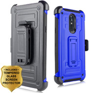 3-IN-1 Rugged Hybrid Kickstand Case with Holster and Tempered Glass Screen Protector for LG Stylo 4 - Blue