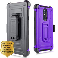 3-IN-1 Rugged Hybrid Kickstand Case with Holster and Tempered Glass Screen Protector for LG Stylo 4 - Purple