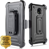 3-IN-1 Rugged Hybrid Kickstand Case with Holster and Tempered Glass Screen Protector for Samsung Galaxy J3 (2018) - Black