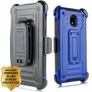 3-IN-1 Rugged Hybrid Kickstand Case with Holster and Tempered Glass Screen Protector for Samsung Galaxy J3 (2018) - Blue