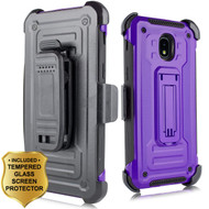 3-IN-1 Rugged Hybrid Kickstand Case with Holster and Tempered Glass Screen Protector for Samsung Galaxy J3 (2018) - Purple