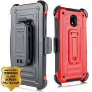 3-IN-1 Rugged Hybrid Kickstand Case with Holster and Tempered Glass Screen Protector for Samsung Galaxy J3 (2018) - Red