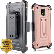 3-IN-1 Rugged Hybrid Kickstand Case with Holster and Tempered Glass Screen Protector for Samsung Galaxy J3 (2018) - Rose Gold