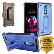 3-IN-1 Rugged Hybrid Kickstand Case with Holster and Tempered Glass Screen Protector for LG K30 - Blue