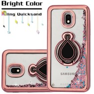 Electroplating Quicksand Glitter Case with Smart Loop Ring Holder for Samsung Galaxy J3 (2018) - Rose Gold