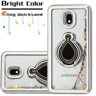 Electroplating Quicksand Glitter Case with Smart Loop Ring Holder for Samsung Galaxy J3 (2018) - Silver