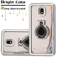 Electroplating Quicksand Glitter Case with Smart Loop Ring Holder for Samsung Galaxy J7 (2018) - Silver