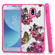 Tough Anti-Shock Hybrid Case for Samsung Galaxy J3 (2018) - Butterfly and Flowers
