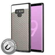 Carbon Metallic Luxury Fusion Case with Magnetic Back Plate for Samsung Galaxy Note 9 - Grey
