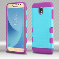 Military Grade Certified TUFF Trooper Dual Layer Hybrid Case for Samsung Galaxy J7 (2018) - Brushed Baby Blue Purple