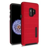 Haptic Dots Texture Anti-Slip Hybrid Armor Case for Samsung Galaxy S9 - Red
