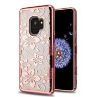 Tuff Lite Quicksand Glitter Electroplating Transparent Case for Samsung Galaxy S9 - Hibiscus Flower