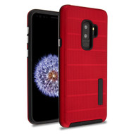 Haptic Dots Texture Anti-Slip Hybrid Armor Case for Samsung Galaxy S9 Plus - Red
