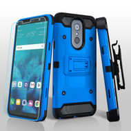 3-IN-1 Kinetic Hybrid Armor Case with Holster and Tempered Glass Screen Protector for LG Stylo 4 - Blue