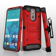 3-IN-1 Kinetic Hybrid Armor Case with Holster and Tempered Glass Screen Protector for LG Stylo 4 - Red