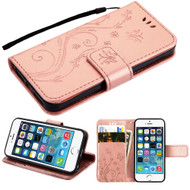 Embossed Butterfly Flower Leather-Style Wallet Stand Case for iPhone SE / 5S / 5 - Rose Gold
