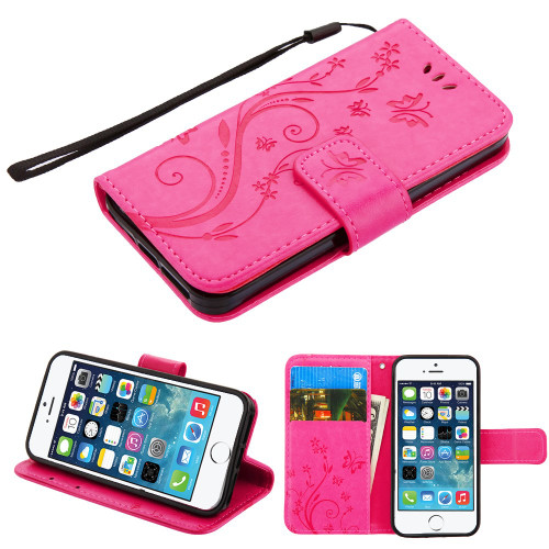 Embossed Butterfly Flower Leather-Style Wallet Stand Case for iPhone SE / 5S / 5 - Hot Pink