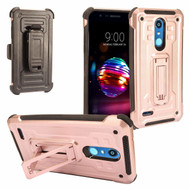 3-IN-1 Rugged Hybrid Kickstand Case with Holster and Tempered Glass Screen Protector for LG K30 - Rose Gold