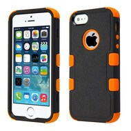 Military Grade Certified TUFF Hybrid Case for iPhone SE / 5S / 5 - Black Orange