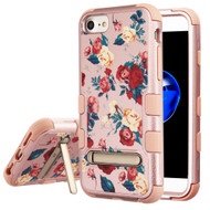 Military Grade Certified TUFF Image Hybrid Armor Case with Stand for iPhone 8 / 7 / 6S / 6 - Red and White Roses