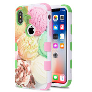 Military Grade Certified TUFF Hybrid Image Armor Case for iPhone X - Ice Cream Scoops