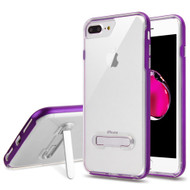 Bumper Shield Clear Transparent TPU Case with Magnetic Kickstand for iPhone 8 Plus / 7 Plus - Purple