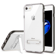 Bumper Shield Clear Transparent TPU Case with Magnetic Kickstand for iPhone 8 / 7 - Grey