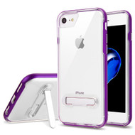 Bumper Shield Clear Transparent TPU Case with Magnetic Kickstand for iPhone 8 / 7 - Purple