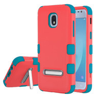 Military Grade Certified TUFF Hybrid Armor Case with Stand for Samsung Galaxy J3 (2018) - Pink Teal
