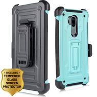 3-IN-1 Rugged Hybrid Kickstand Case with Holster and Tempered Glass Screen Protector for LG G7 ThinQ - Mint Green