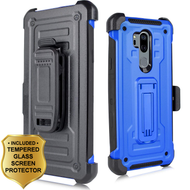 3-IN-1 Rugged Hybrid Kickstand Case with Holster and Tempered Glass Screen Protector for LG G7 ThinQ - Blue