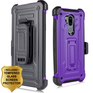 3-IN-1 Rugged Hybrid Kickstand Case with Holster and Tempered Glass Screen Protector for LG G7 ThinQ - Purple