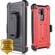3-IN-1 Rugged Hybrid Kickstand Case with Holster and Tempered Glass Screen Protector for LG G7 ThinQ - Red