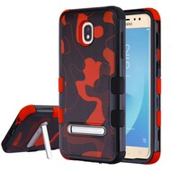 Military Grade Certified TUFF Image Hybrid Armor Case with Stand for Samsung Galaxy J7 (2018) - Camouflage Red