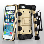 Military Grade Certified Storm Tank Hybrid Case with Holster and Tempered Glass Screen Protector for iPhone SE / 5S / 5 - Gold