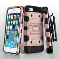 Military Grade Certified Storm Tank Hybrid Case with Holster and Tempered Glass Screen Protector for iPhone SE / 5S / 5 - Rose Gold