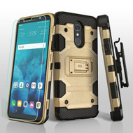 Military Grade Certified Storm Tank Hybrid Case + Holster + Tempered Glass Screen Protector for LG Stylo 4 - Gold