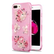 Tuff Full Diamond Glitter Hybrid Protective Case for iPhone 8 Plus / 7 Plus / 6S Plus / 6 Plus - European Peony