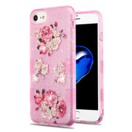 Tuff Full Diamond Glitter Hybrid Protective Case for iPhone 8 / 7 / 6S / 6 - European Peony