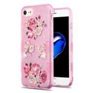 Tuff Full Diamond Glitter Hybrid Protective Case for iPhone 8 / 7 / 6S / 6 - European Peony