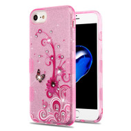 Tuff Full Diamond Glitter Hybrid Protective Case for iPhone 8 / 7 / 6S / 6 - Butterfly Flowers