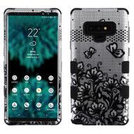 Military Grade Certified TUFF Image Hybrid Armor Case for Samsung Galaxy Note 9 - Lace Flowers Black