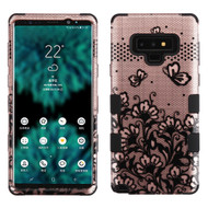 Military Grade Certified TUFF Image Hybrid Armor Case for Samsung Galaxy Note 9 - Lace Flowers Rose Gold