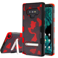 Military Grade Certified TUFF Image Hybrid Armor Case with Stand for Samsung Galaxy Note 9 - Camouflage Red