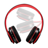 Digital MP3 Foldable Bluetooth V4.2 Wireless On-Ear Headphones with Microphone - Red