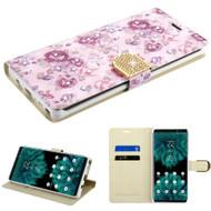 Luxury Bling Portfolio Leather Wallet Case for Samsung Galaxy Note 9 - Fresh Purple Flowers