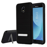 Brushed Multi-Layer Hybrid Armor Case with Kickstand for Samsung Galaxy J7 (2018) - Black